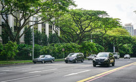 Cars on street in Singapore Royalty Free Stock Image
