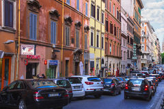 Cars on the street Via Quattro Fontane in Rome, Italy Royalty Free Stock Images
