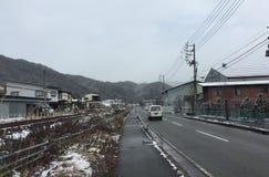 Cars on street at winter in Takayama, Japan Stock Photography
