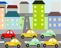 Cars taxi ride into town Royalty Free Stock Image