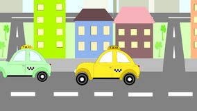 Cars taxi rides rides around town, animation, stock video
