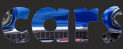 Cars text inside word. With blue car Royalty Free Stock Photo