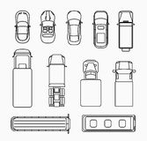 Cars thin line icons top view Stock Photo