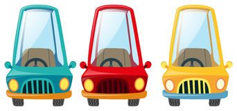 Cars in three differnt colors Royalty Free Stock Image