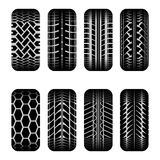Cars tire tracks shadow. Set of eight black car tire tracks with shadow Stock Image