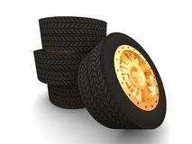 Cars tires. Computer genarated image of a sports car tire vector illustration