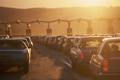 Cars at tollbooth Stock Photos