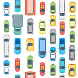 Cars Top View Background Pattern. Vector Royalty Free Stock Images