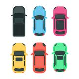 Cars top view. Colorful different vehicles on white Stock Image