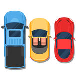 Cars top view. Convertible, sport car and pickup. Flat style col Royalty Free Stock Photography