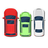 Cars top view. SUV, hatchback, wagon, sedan. Flat style color vector illustration  on white background for web design or print Stock Photos