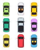 Cars top view on white background. Convertible, sedan, pickup, minivan. Illustration Stock Photo
