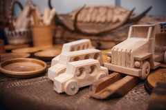 The cars is a toy made of natural wood royalty free stock image
