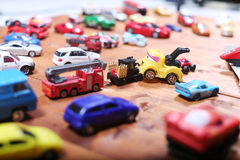Cars toys. Many small cars toys in the playground, boys toys Stock Photo
