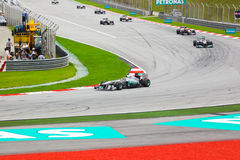 Cars on track at race of Formula 1 Royalty Free Stock Images