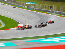 Cars on track at race of Formula 1 Stock Photography