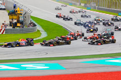 Cars on track at race of Formula 1 Stock Image