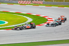 Cars on track at race of Formula 1 Royalty Free Stock Photos