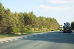 Cars on the track in the summer day near Kazan in Tatarstan in Russia stock photo