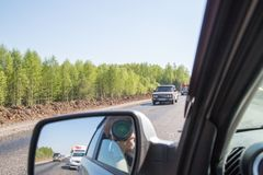 Cars on the track in the summer day near Kazan in Tatarstan in Russia royalty free stock photo