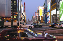 Cars and traffic in Dotonbori area Royalty Free Stock Photography