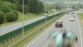 Cars traffic on freeway in Vilnius, Lithuania. stock video footage