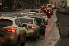 Cars in a traffic jam. Cars in traffic in front of a bridge Royalty Free Stock Photo