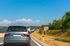 Cars in a traffic jam on the highway in Croatia. Space for text Stock Images