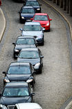 Cars in traffic jam on the one way street Stock Photos