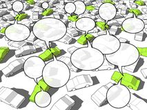 Cars in traffic jam with speech bubbles Stock Images