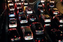 Cars are in a traffic jam Royalty Free Stock Photo