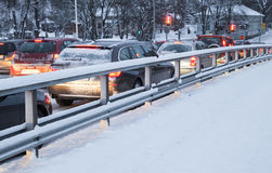 Cars in a traffic jam on winter street Stock Photography