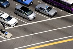 Cars at traffic junction Royalty Free Stock Photo