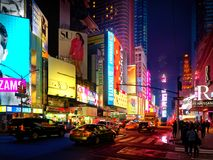 Cars traffic in Manhattan midtown at night. New York City, USA - April 2018: vehicles traffic in Manhattan midtown at night Royalty Free Stock Photography