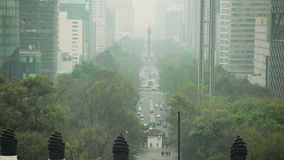 Cars traffic. In Paseo de la Reforma, Mexico City stock footage