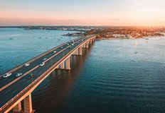 Traffic on Captain Cook Bridge Sans Souci aerial view royalty free stock images