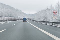 Cars with trailer on the autobahn, Germany.  stock images