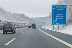 Cars with trailer on the autobahn, Germany.  royalty free stock photo