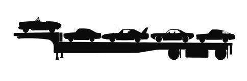 Cars on trailer in silhouette Royalty Free Stock Photo