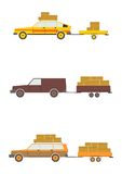 Cars with trailers Stock Images