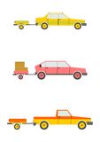 Cars with trailers Stock Photography