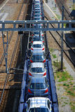 Cars on the train stock photography
