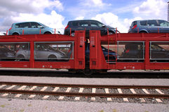 Cars on train Stock Photos