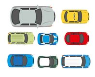 Cars transport or automobile vehicles vector flat icons top view. Cars transport or automobile vehicles roof or top view. Vector flat  icons of passenger car Royalty Free Stock Photo