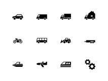 Cars and Transport icons on white background. Vector illustration Stock Image
