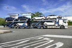 Cars transporter truck Genoa Italy stock photo