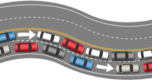 Cars travel traffic go one direction Stock Photography