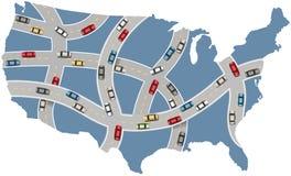 Cars travel USA highway transportation map. Many cars drive USA roads on travel transportation map of America royalty free illustration