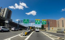 Route 93 N to Storrow Drive, Boston, MA. Royalty Free Stock Photos
