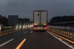 Cars and Truck at autobahn with road works, Germany.  Royalty Free Stock Image